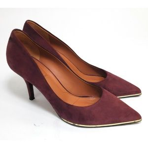GIVENCHY Suede Gold Trim Pumps Pointy Toe Burgundy